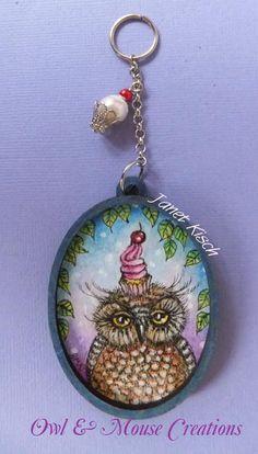 cupcake owl hanging..original pen and ink artwork ~ Janet Kisch
