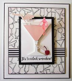 PartiCraft (Participate In Craft): Cosmopolitan Cocktail Card Making Inspiration, Making Ideas, Cosmopolitan Cocktails, Stampin Up, Sue Wilson, Cocktail Glass, Cocktail Ideas, Paper Crafts, Diy Crafts