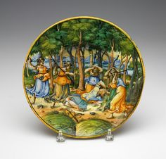 RISD Museum: Unknown artist, Italian, Italy; Urbino. Plate (Orpheus Attacked by Maenads), ca. 1540-1550. Tin-glazed earthenware. Diameter: 27 cm (10 5/8 inches). Bequest of Susan Martin Allien 35.703