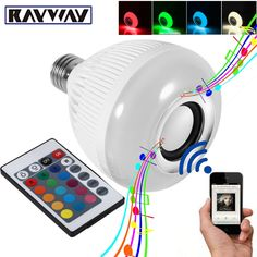 RAYWAY Smart RGBW Wireless Bluetooth Speaker Bulb Music Playing Dimmable 12W E27 LED Bulb Light Lamp with 24 Keys Remote Control //Price: $27.98 & FREE Shipping //     #hashtag3