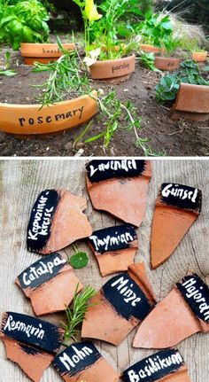 Make plant markers out of broken pots #gardenmarker #gardeningtips
