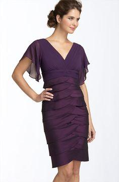 Elegant Sheath/Column V-neck Short Purple Chiffon Mother Wedding Dress - EveAllure Mob Dresses, Petite Dresses, Dresses With Sleeves, Short Sleeves, Chiffon Dresses, Dresses 2016, Sheath Dresses, Cap Sleeves, Estilo Fashion