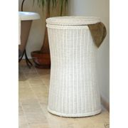 Tall Wicker White Laundry Basket Bin|Tall White Laundry Candle and Blue £65.00