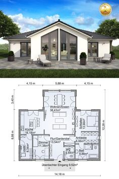 House architecture design - Bungalow House with One Story Modern European Style Architecture Design House Plan Bungalow SH 136 WB Variante D Layout by ScanHaus Marlow Arquitecture Contemporary Style Interior with Kitchen Liv Architecture Design, House Architecture Styles, Plans Architecture, Architectural Design House Plans, Modern House Design, Modern Bungalow House, Modern Bungalow Exterior, Bungalow Designs, Small Modern House Plans