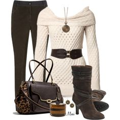 Cords & Chunky Sweater, created by myfavoritethings-mimi on Polyvore
