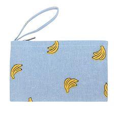 Caixia Women's Cotton Banana Print Blue Canvas Tote Shopp...