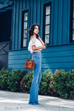 Summer outfit idea, high rise flare jeans and a crop top