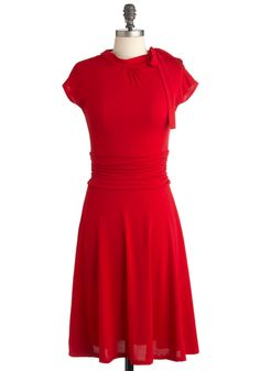 Dance Floor Date Dress in Scarlet - Red, Solid, Party, A-line, Fall, Long, Ruching, Work, 50s, Short Sleeves