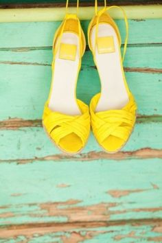 Bright Yellow Shoes #yellow #wedding #shoes