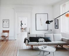 Scandinavian designed living room with gray sofa.