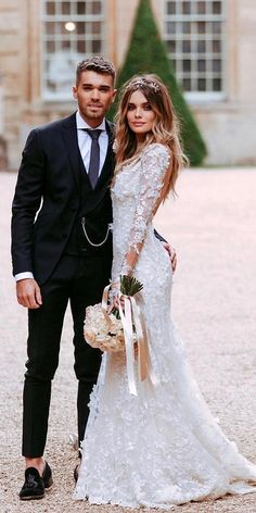 27 Fantasy Wedding Dresses From Top Europe Designers : fantasy wedding dresses with long sleeves low back floral appliques galialahav Fantasy Wedding Dresses, Top Wedding Dresses, Wedding Dress Trends, Designer Wedding Dresses, Wedding Gowns, Wedding Arbors, Event Dresses, Wedding Ideas To Make, Photo Couple