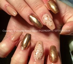 Nude chrome rose gold nail art.
