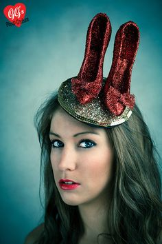 Items similar to Fun Glitter Retro Quirky Ruby Slippers Wizard of Oz inspired Fascinator on Etsy Fascinator Hats, Fascinators, Headpieces, Ruby Red Slippers, Bridal Hat, Crazy Hats, Pinup Couture, Quirky Fashion, Fancy Hats