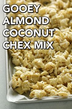 Gooey Almond Coconut Chex Mix – this is such a delicious NO-BAKE treat! … Gooey Almond Coconut Chex Mix – this is such a delicious NO-BAKE treat! Snack Mix Recipes, Yummy Snacks, Cooking Recipes, Yummy Food, Snack Mixes, Popcorn Recipes, Savory Snacks, Candy Recipes, Yummy Treats