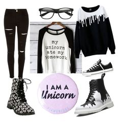 """Untitled #48"" by iust1na23 on Polyvore featuring Dr. Martens, Converse, River Island and Disney"