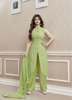 Charismatic Ayesha Takia Green Pant Style Salwar Suit