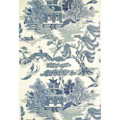 Lee Jofa WILLOW LAKE BLUE/CREAM Wallpaper