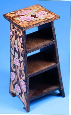 Handmade Vintage Wooden Tray Stand Shelf Tea Table Dollhouse Miniature Furniture