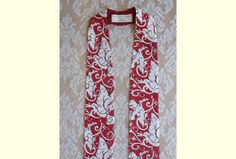 Items similar to Red Clergy Stole -- Red and White Dove and Scroll Print -- Will ship October 16 - November 2015 on Etsy Worship Ideas, Church Banners, White Doves, Red And White, Trending Outfits, Business, Handmade Gifts, Fabric, Beautiful