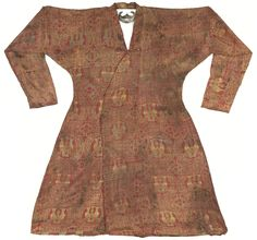 Seljuk Silk Lampas Robe, Central Asia, century C. Medieval Clothing, Historical Clothing, Historical Images, High Middle Ages, Long Sleeve And Shorts, 12th Century, Central Asia, Green Silk, How To Wear