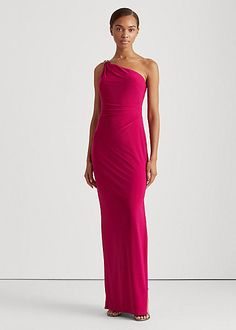 Lauren Ralph Lauren Jersey One-shoulder Gown In Bright Fuchsia | ModeSens