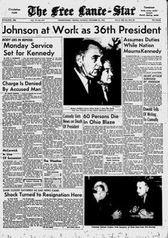 Front page news from 1963 covering the day President Kennedy was assassinated
