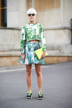 Runway shows are getting to be more influential directly to ready to wear consumers than ever before. Bright and vibrant patterns are the trend on the street this season. What will Paris show us next? Dakota K.