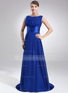 Evening Dresses - $119.99 - A-Line/Princess Scoop Neck Sweep Train Chiffon Charmeuse Evening Dress With Ruffle (017022545) http://jenjenhouse.com/A-Line-Princess-Scoop-Neck-Sweep-Train-Chiffon-Charmeuse-Evening-Dress-With-Ruffle-017022545-g22545/?utm_source=crtrem&utm_campaign=crtrem_US_20898