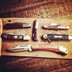 A few from my meager collection.  I like 'em worn with character.  #typehunter #pocketknives