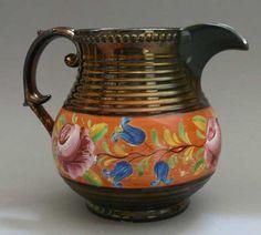 Antique British 19th century pottery, Sunderland copper lustre pitcher, enamel flowers Sunderland, Copper And Pink, English China, British, Antique Pottery, Wedgwood, Tea Set, Bristol, 19th Century