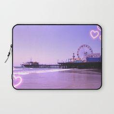 Santa Monica Pier Purple Hearts Laptop Sleeve by Christine Aka Stine1... ($36) ❤ liked on Polyvore