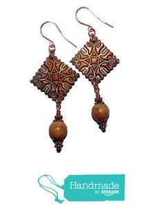 HANDMADE Bohemian Stamped Square Earrings Agate Rounds from Handmade Jewelry By Sara B https://www.amazon.com/dp/B01MCS31KA/ref=hnd_sw_r_pi_dp_N.ocybCK5995E #handmadeatamazon