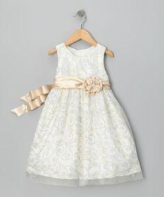Light Beige Rosette Dress - Infant, Toddler & Girls | Daily deals for moms, babies and kids