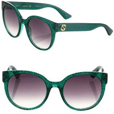 Gucci Women's 54MM Glitter Cat Eye Sunglasses - Green (5.640 ARS) ❤ liked on Polyvore featuring accessories, eyewear, sunglasses, apparel & accessories, green, green lens glasses, acetate sunglasses, cat eye sunglasses, uv protection sunglasses and gradient lens sunglasses