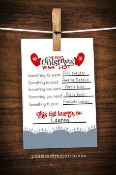 Best Christmas wish list for kids printable