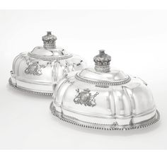 """The """"Bachelor Duke"""" of Devonshire: A pair of George IV silver meat dish covers, Robert Garrard and Brothers, London, 1825."""