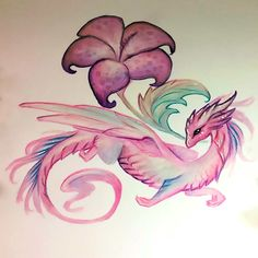 Pink Flower and Dragon Tattoo Design - A girly tattoo painting of a pink dragon with an unknown flower. Pink Dragon, Little Dragon, Baby Dragon, Dragon Art, Fantasy Creatures, Mythical Creatures, Pretty Art, Cute Art, Animal Drawings
