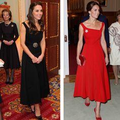 À esquerda, o vestido Preen usado na noite de terça-feira (22.11); à direita, a versão vermelha usada em setembro (Foto: Getty Images)