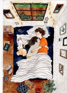 Image about love in Art / Drawing / Cartoon / Anime by AtaDeniz✅ Art And Illustration, Cute Couple Art, Cute Couples, Couple Drawings, Art Drawings, Drawings About Love, Drawing Sketches, Anime Kunst, Anime Art