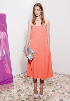 Coral Margaret Dress, Silver Hologram Betty Clutch, Nathalie Wedges Spring 2013 Look 15