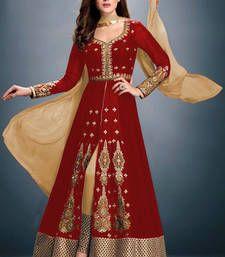 Buy Red embroidered faux georgette semistitched salwar with dupatta party-wear-salwar-kameez online