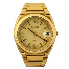 ROLEX Date Beta-21 Quartz Yellow Gold  Ref 5100   From a unique collection of vintage wrist watches at http://www.1stdibs.com/jewelry/watches/wrist-watches/