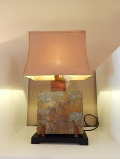 LMP0153-397 Indoor Outdoor hand carved slate square table lamp, 29H, shade 12w x 17d