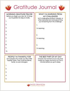 Free Printable Gratitude Journal - Sage Grayson Coaching (I like Morn Grat, People Grat, & Best Part of Day for my Journal ideas) Coaching Personal, Life Coaching Tools, Therapy Worksheets, Therapy Activities, Self Esteem Worksheets, Cbt Worksheets, Counseling Worksheets, Therapy Tools, Art Therapy
