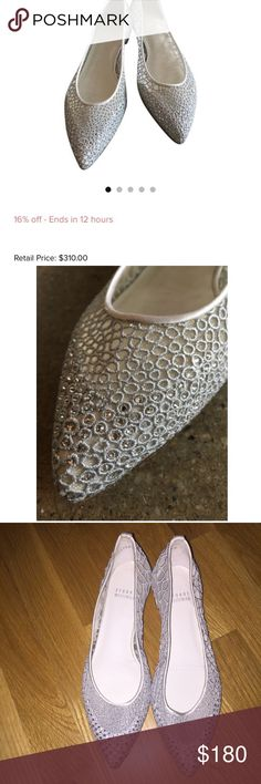 Stuart Weitzman Pointed Flats Authentic Stewart Weitzman Silver Flats  Lace and mesh upper Crystals embellished lace at toes Pointed toe Size 6M Retail for $310.                                                                       Open to offers! Stuart Weitzman Shoes Flats & Loafers