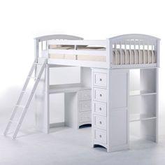 NE Kids Schoolhouse Student Loft Bed - White - 7080NL, FUB658-1