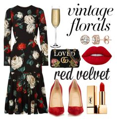 """Vintage Red Velvet"" by jazz4real ❤ liked on Polyvore featuring Dolce&Gabbana, Christian Louboutin, Yves Saint Laurent, Diamond Splendor, Lime Crime, Nude, Gucci and vintage"