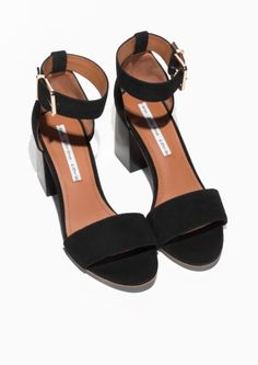 & Other Stories image 2 of Almond Toe Suede Sandals in Black