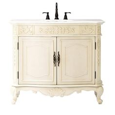 Home Decorators Collection Winslow 43 in. Vanity in Antique White with Marble Vanity Top in White-1591000410 - The Home Depot