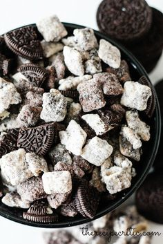Your favorite ice cream flavor, Cookies and Cream, is now crunchier and more portable. Don't worry, though — it's still crazy-delicious. A batch of these Muddy Buddies (chunks of Oreo cookies, included) is sure to satisfy your sweet tooth. Click through for the recipe and more puppy chow ideas.